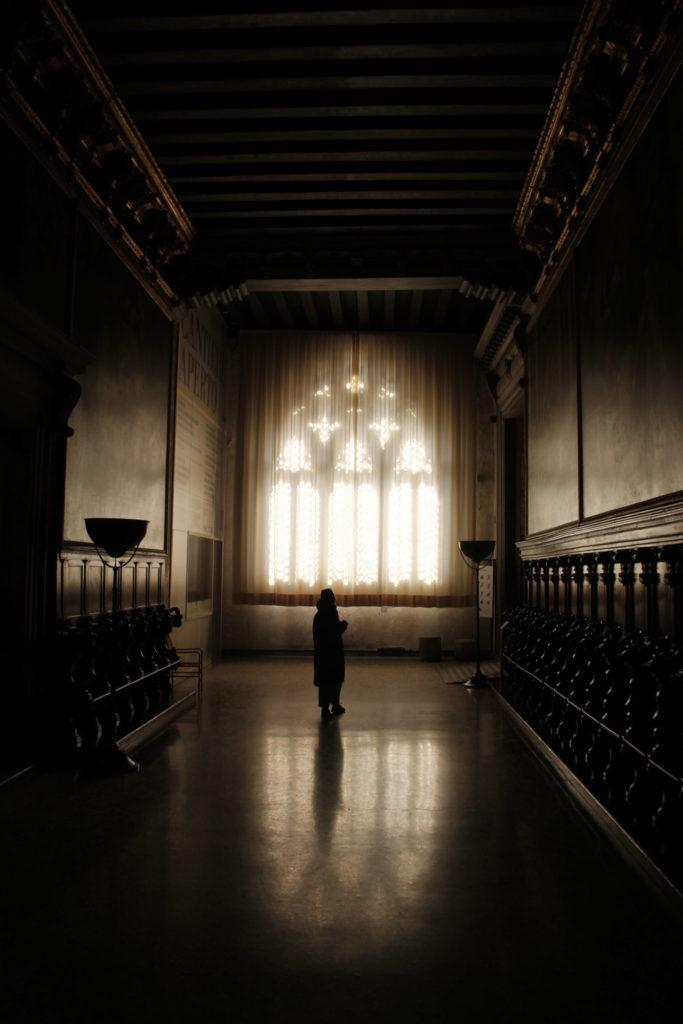 Dogenpalast in Venice, Fenster, Gotik, Italien, Architektur, Gegenlicht