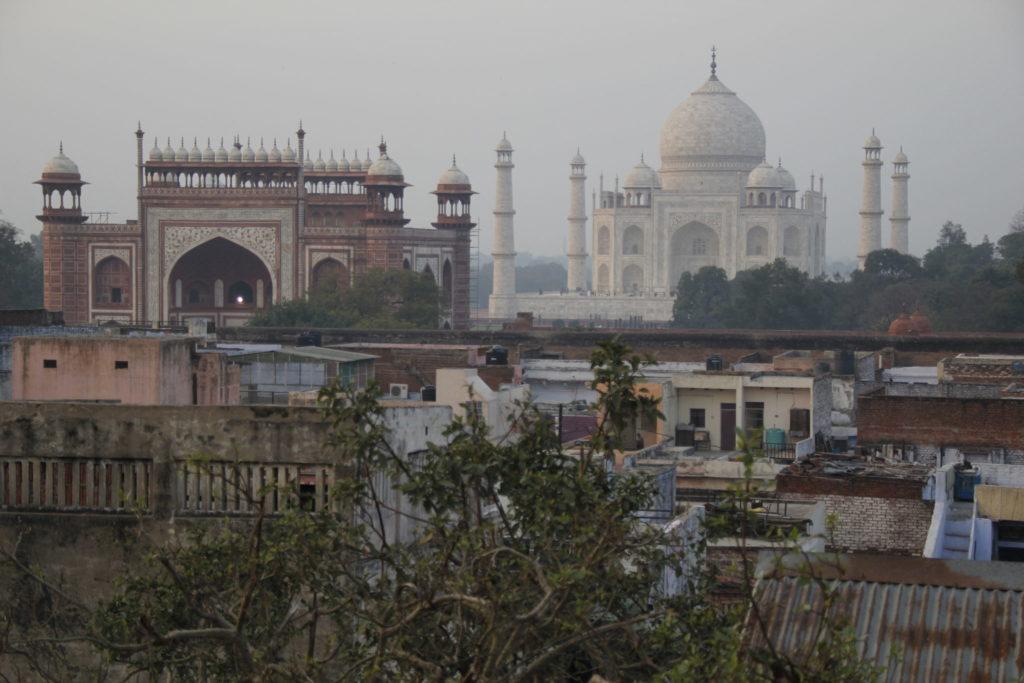 Taj Mahal, Agra, Blick, Café, Abend, sunset, Sonnenuntergang, view